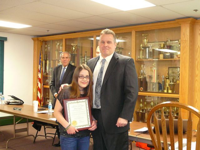 "Ellie Curtin, 2013 ""Caught Being Green"" award recipient poses with Mayor Mark Desire after being presented with her award by the Borough Council."