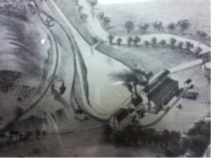 Pond in front of factory from a late 1700s drawing