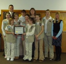 Members of Girl Scout Troop #243, 2008 Citizens of the Year, with Mayor Mark Desire and Councilwoman Lynn Hughes