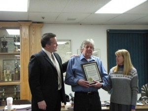 2010 Green Award Recipient - Wayne Hally. Pictured L-R: Mayor Mark Desire, Wayne Halley, and Councilwoman Lynn Hughes