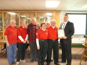 """""""I'm for High Bridge"""" Committee members Charlie and Emily Bruton, Bill Anderson, Kathy Conroy, Jim Conroy (pictured left to right) accept the 2013 Volunteer of the Year Award from Mayor Mark Desire."""